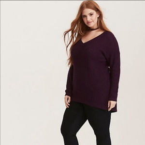 Torrid   Slouchy Knit V Neck Pullover Sweater 1X